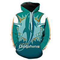 Miami Dolphin Rugby Team Printed Hat Pocket Turtleneck Men's Tide Hat Men's Wear Blouse hoodies