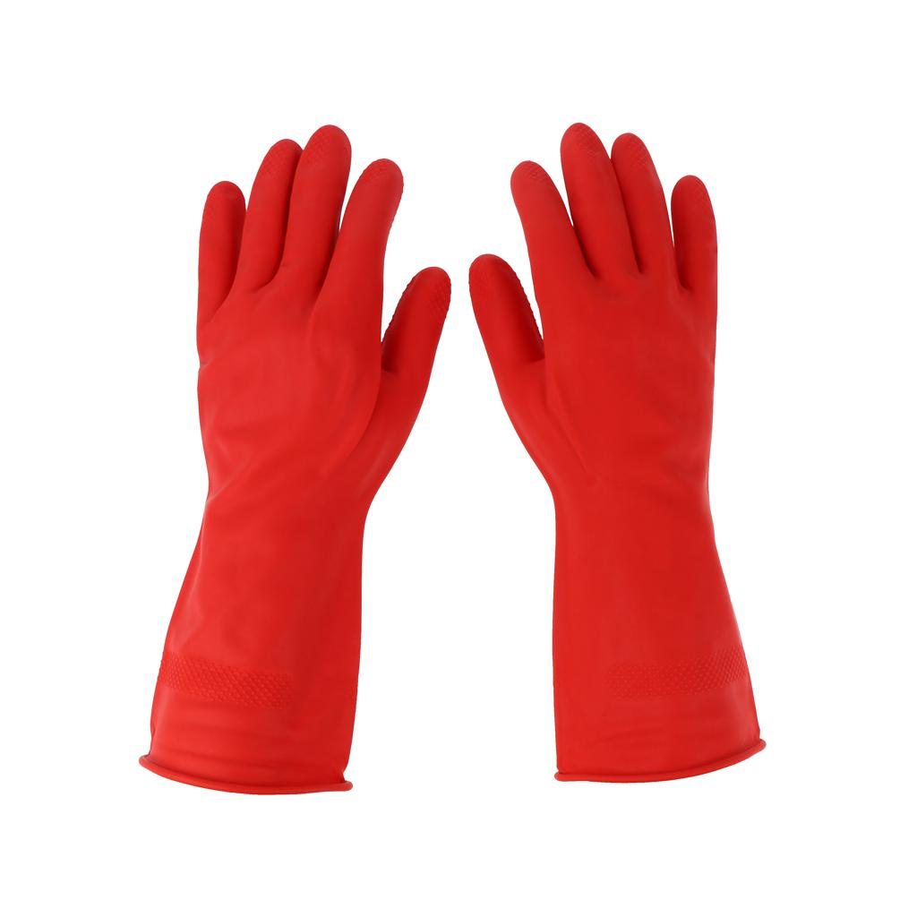 Latex Gloves Red 300mm Hand Safety Protection Kitchen Cleaning