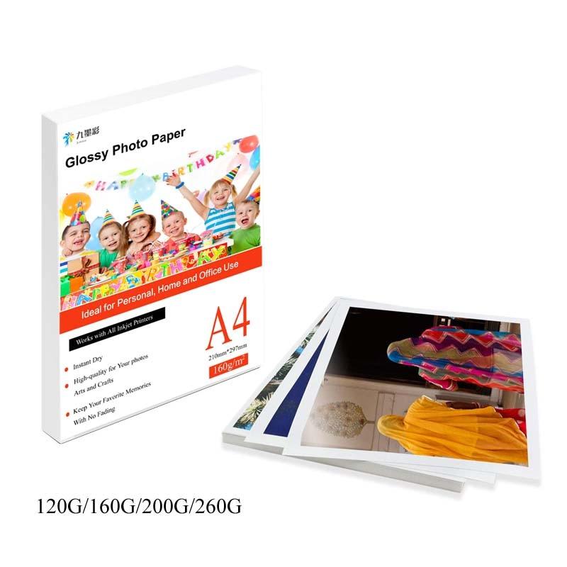 Papel fotográfico para impressora fotográfica, folhas a4 100 folhas de papel brilhante para impressora de jato de tinta, 20 folhas de escritório 100 folhas