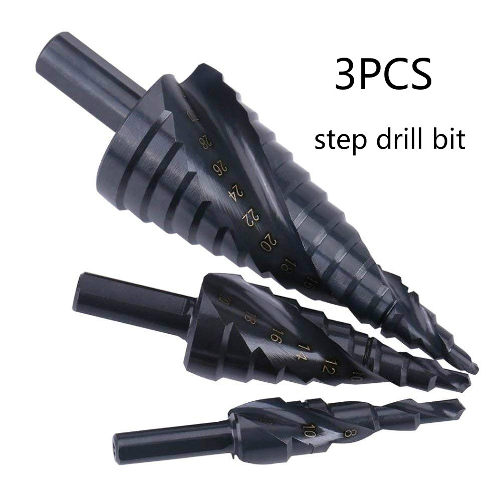 3pcs HSS Titanium Coated Step Drill Bit High Speed Steel Cobalt Nitriding Spiral Metal Drill Bit Triangle Shank For Wood Metal