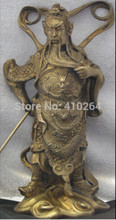 "Chinese Bronze Warrior Statue 6-7/8"" Guan Yu Gong Copper Dragon Buddha(China)"