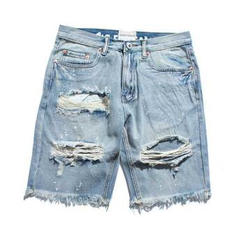 Ripped Destroyed Distressed Denim Shorts 2020 Mens Hole Denim Shorts Blue Male Hip Hop Fashion Casual Dot Jeans Short roll up ripped denim shorts