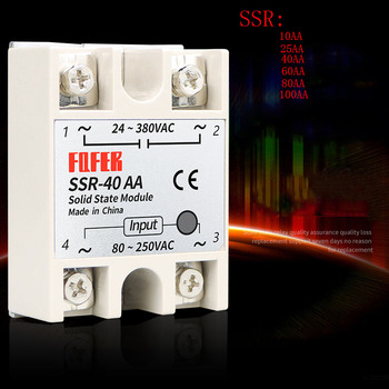 10A 25A 40A 60A AC-AC Single Phase Solid State Relay AC SSR SSR-10AA SSR-25AA SSR-40AA SSR-60AA 80-250VAC 220V TO 24-380V AC ssr 25dd 40dd 60dd 80dd ssr single phase dc control dc heat sink 3 32vdc to 5 220vdc25a 40a 60a 80add solid state relay