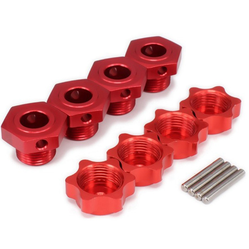 FOR HSP 1/8 Spare Parts Tires Adapter Wheel Nut 4Pcs/Lot 17mm Aluminum Hex Hubs with Pins RC Car for 1/8 HSP TEAM C Rc Car