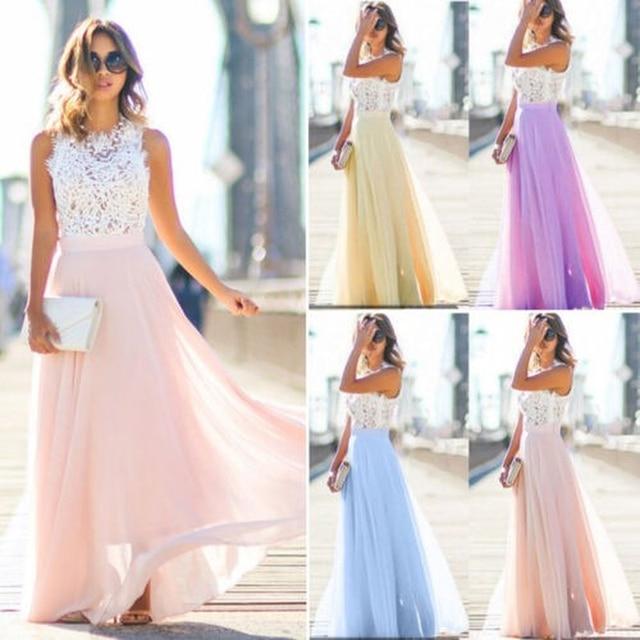 Women Long Maxi Dress Bridesmaid Lace Party Dress Fashion  Sleeveless Wedding Party Elegant Casual Wear 1