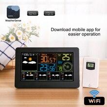 สี WiFi WEATHER Station APP ควบคุมสมาร์ทตรวจสอบสภาพอากาศอุณหภูมิความชื้นในร่มกลางแจ้งบรรยากาศลมความเร็ว
