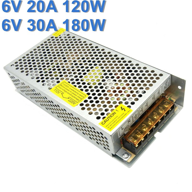 Regulated 6V Switching Power Supply 20A 120W 30A 180W Driver 110V 220V AC to DC  Source Transformer SMPS for monitoring system-0