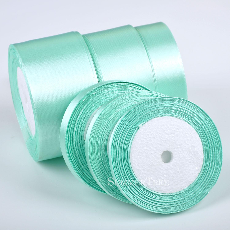 1 рулон, зеленая мятно-Зеленая атласная лента с поясом, 25 ярдов, 6-50 мм, украшение для свадебной вечеринки, банкета