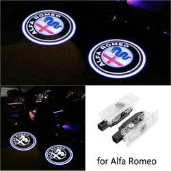 2 pçs led porta do carro luz de boas-vindas projetor laser logotipo fantasma sombra para alfa romeo 159 giulietta mito stelvio brera aranha
