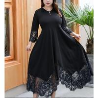 5Xl Fall Women Back Lace Up Loose Dress Patchwork Lace Plus Size Dress A Line Casual 3/4 Length Sleeve V Neck Midi Dress