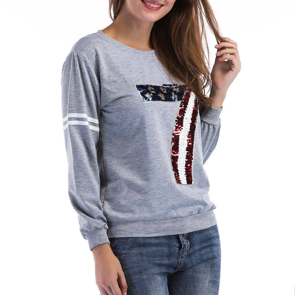 women t shirt long sleeves autumn and winter Women 39 s Causal Long Sleeve Sequined Ladies Solid O Neck Top in T Shirts from Women 39 s Clothing