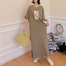 NYFS Summer Dress 2021 New laconic Short Sleeve Women Dress Vestidos Robe Elbise Fashion Split Long Dress