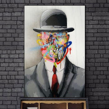 Abstract Street Art Graffiti Magritte Painting Printed on Canvas 2