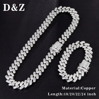 D&Z Hip Hop 1 Set Iced Out Bling CZ Cuban Link Necklaces Prong Paved AAA+ Zircon Chain Collier For Hipster