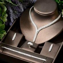 HIBRIDE Brillante Éblouissante African Dubai CZ Blanc Or Couleur Femmes Grand Ensemble De Bijoux De Mariage pour Les Mariées Fête Accessoires N-1905