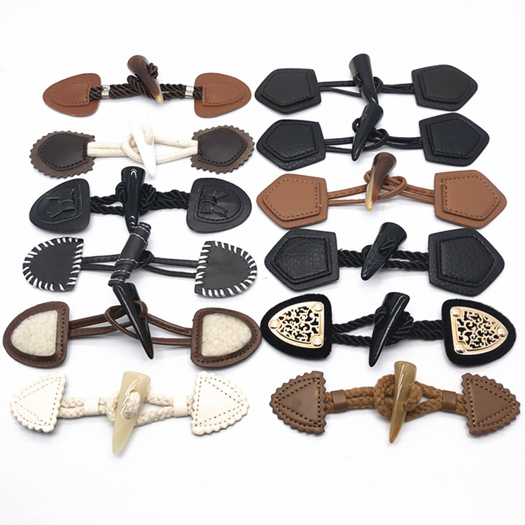 3 Pair Khaki Leather Horn Toggle Buttons Resin Horn for Duffle Coat Fastener