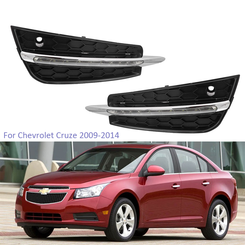YTCLIN LED DRL Daytime <font><b>Running</b></font> <font><b>Lights</b></font> for <font><b>Chevrolet</b></font> <font><b>Cruze</b></font> 2009 2010 <font><b>2011</b></font> 2012 2013 2014 Fog Lamp Cover Daylight Headlight 12V image