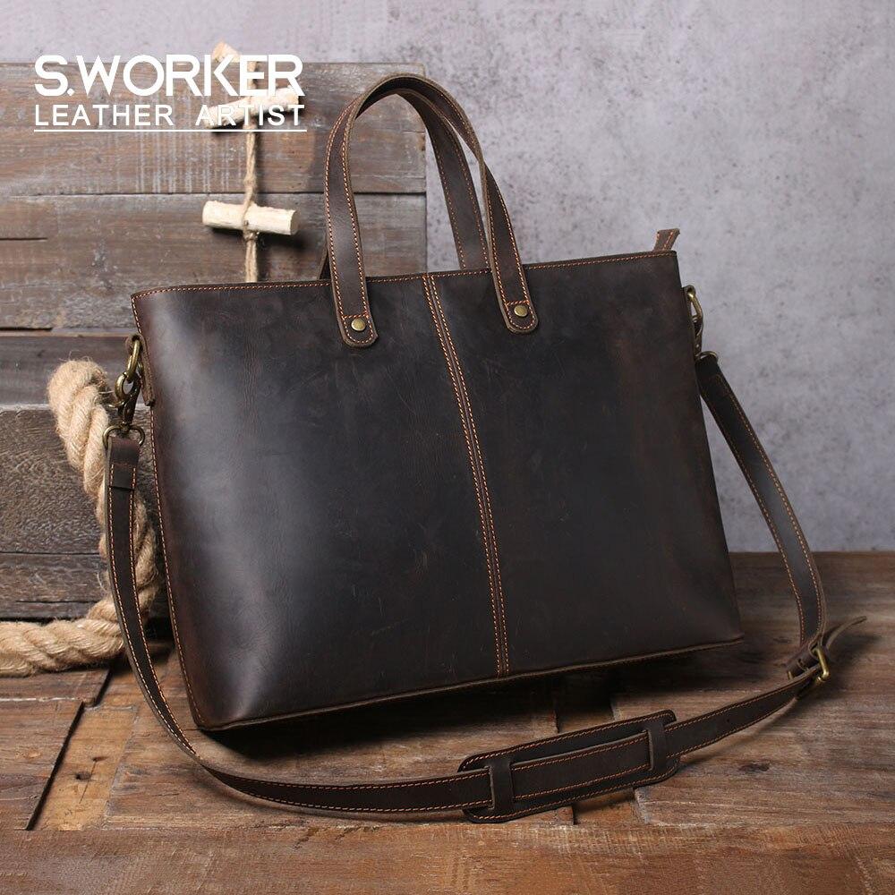 Vintage Genuine Leather Tote Bag Men's Minimalist Casual Shoulder Bag Crazy Horse Cowhide Crossbody Bag Shopping Bag