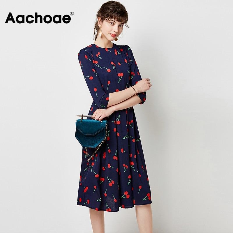 Aachoae Elegant A Line Party Dress Women O-neck Print Long Pleated Dress Three Quarter Sleeve Casual Midi Dresses Vestidos 2020