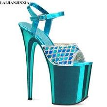 Laijianjinxia novo sexy 20 cm sandálias de salto alto moda boate sapatos pole dança sandálias modelo de salto alto sapatos femininos