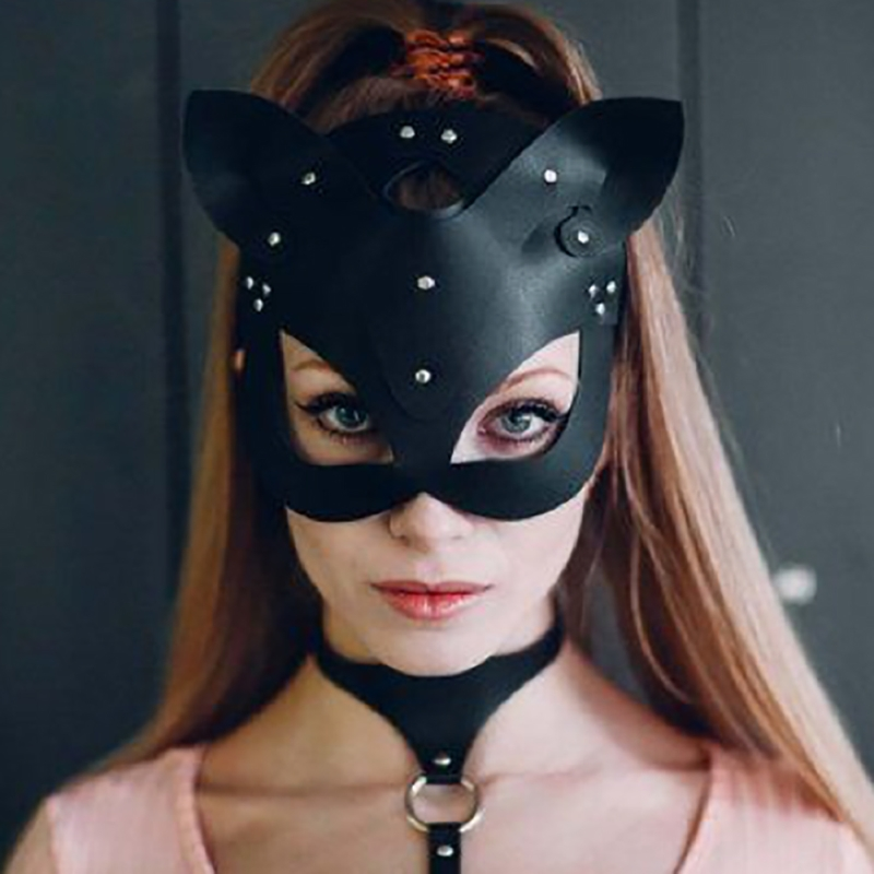 X Women Sexy Mask Half Eyes Cosplay Face Cat Leather Mask Cosplay  Mask Masquerade Ball Carnival Fancy Masks*