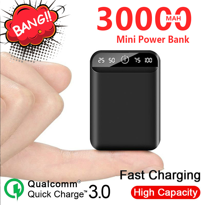 Mini Portable 30000mAh Mobile Charger with Dual USB Port Outdoor Safe Emergency External Battery Power Bank for Iphone Xiaomi