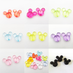 Wholesale 38mm*35mm 50pcs/bag  Transparent Faceted Acrylic Mouse Beads For Chunky Jewelry/DIY Fashion Jewelry