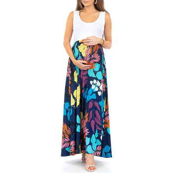 Ins Maternity Dresses Sleeveless Patchwork Bohemian Dress for Pregnant Woman Long  Bohe Style Maxi