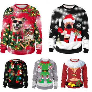 3D Ugly Christmas Sweater Unisex  For Holidays Santa Elf Christmas Funny Fake Hair Sweater Autumn Winter Blouses Clothing unisex men women ugly christmas sweater vacation santa elf funny christmas sweaters jumper autumn winter tops clothing
