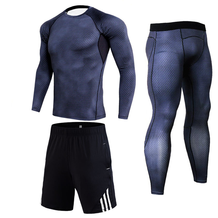 Men's Winter Compression Sports Set 3D Teen Wolf Captain Set Fitness Jogging Men MMA Crossfit T-Shirt Tights Brand Clothing