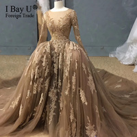 Full Luxury Lace Long Sleeve Mermaid Wedding Dress 2020 100% Real Picture Dubai Heavy Beading Bridal Dresses vestito da sposa