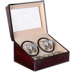 Czerwony automatyczny zegarek mechaniczny Box PU wibracyjnym pokrętło zegarka uchwyt do prezentowania  przechowywania biżuterii  zegarków organizator z ue/US/AU/UK wtyczka