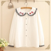 Japanese Lolita Kawaii Bow Women Shirts Mori Girl Cute Floral Embroidery Tops Vintage Peter Pan Long Sleeve Plaid White Blouses
