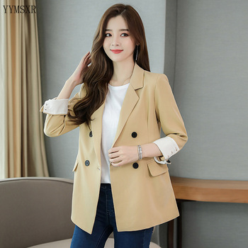 Ladies jacket high quality 2020 new spring and autumn loose double-breasted ladies blazer Feminine casual small suit