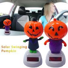 Solar Shaking Head Doll Solar Swinging Pumpkin Car Decoration Cartoon Car Doll Car Interior Jewelry Halloween Gift