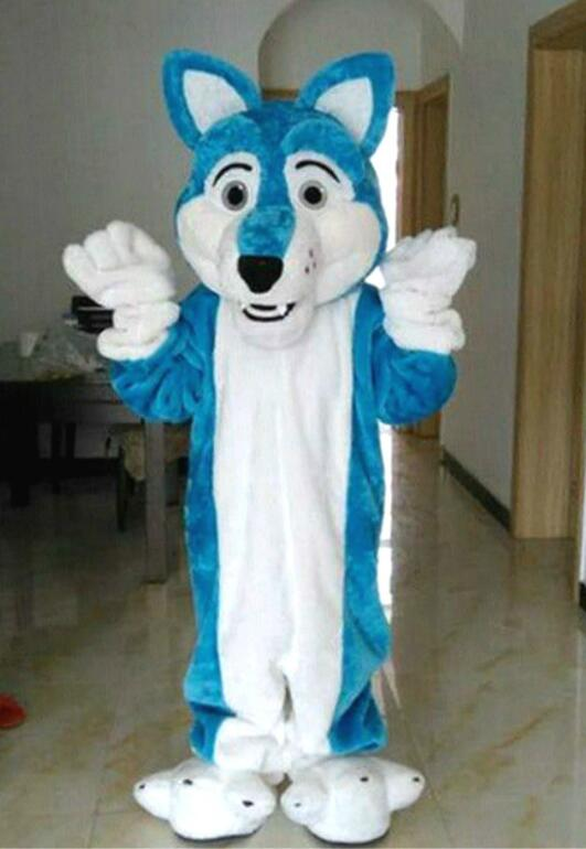 High Quality Blue Wolf Dog Fursuit Furry Mascot Costumes Cartoon Apparel Costumes Halloween Outdoor Outfit Adult