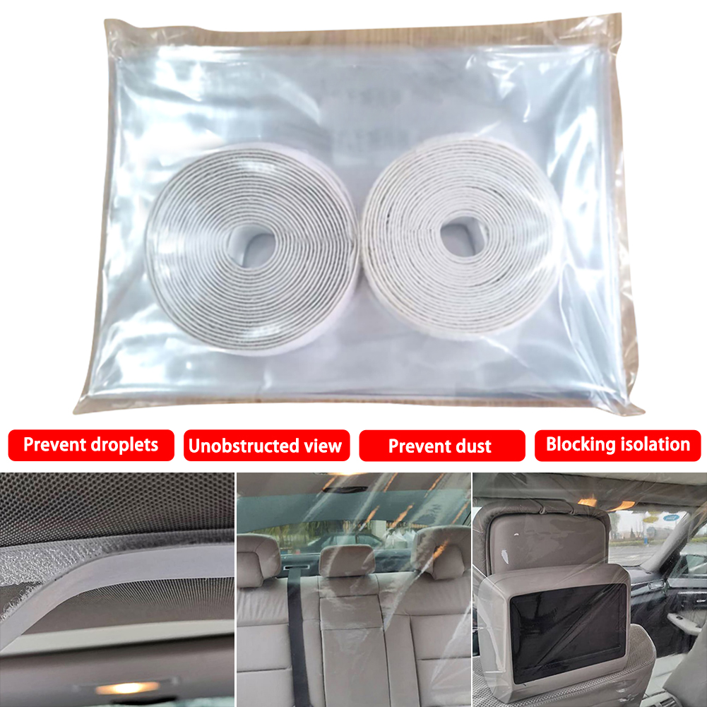 Car Taxi Isolation Film Plastic Anti-Fog Full Surround Protective Cover Net Cab Front And Rear Row Color White For Car Cockpit