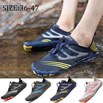 Buty do pływania buty wodne klapki mężczyźni kobiety grube nadmorskie plażowe trampki antypoślizgowe szybkoschnące światło boso miękkie skarpetki tanie i dobre opinie pscownlg CN (pochodzenie) Dobrze pasuje do rozmiaru wybierz swój normalny rozmiar Spring2019 elastyczna opaska Profesjonalne