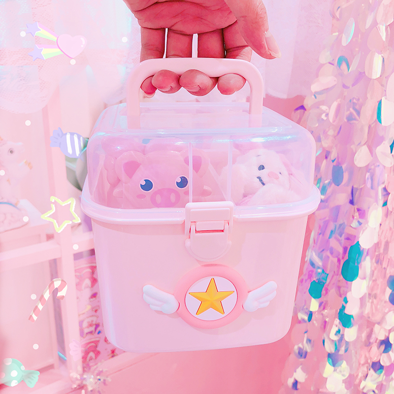 Maiden Cute Pink Storage Boxs Girl Jewelry Receive Bins Portable Travel Snacks Organizer Transparent Box