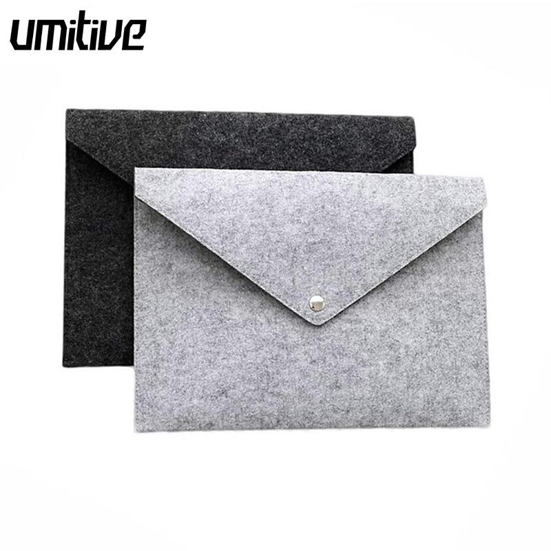 Umitive Felt File Bags Portable A4 Document File Folders Pad Bag Office Document Paper Organizers Kit Durable Button Closure