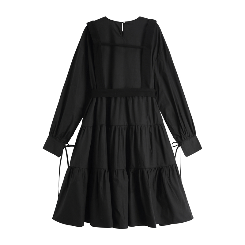 Gothic Style Black Long Dress Women Punk Long Sleeve Lace Up Vintage Midi Dresses 2020 Fashion Ladies Cosplay Loose Vestidos