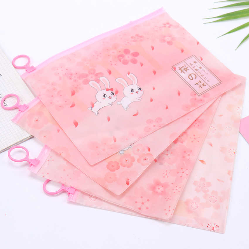1PC Kawaii Pink Pencil Case Office School Waterproof Document Bag File Folder Stationery Organizer Kids Supplies