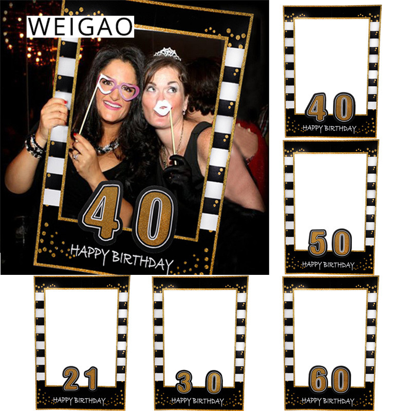 WEIGAO 21/30/40/50/<font><b>60th</b></font> Photo Booth Frame Happy <font><b>Birthday</b></font> Anniversary Party <font><b>Decoration</b></font> Adult 30 40 50th PhotoBooth Props Supply image