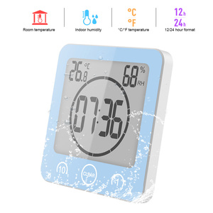 LCD Screen Waterproof Digital Bathroom Wall Clock Temperature Humidity Countdown Time Function Wash Shower Hanging Clocks Timer(China)