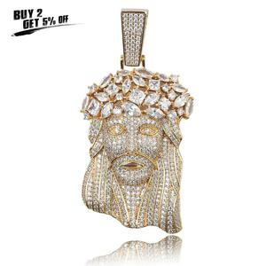 Image 2 - JINAO collar de Jesús grande y Colgante con cadena de tenis para hombre, Color dorado, Circonia cúbica helada, regalo de joyería de Hip Hop