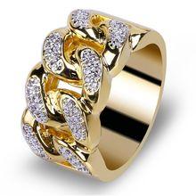 Модное женское кольцо в стиле хип хоп классическое 13 мм с фианитом