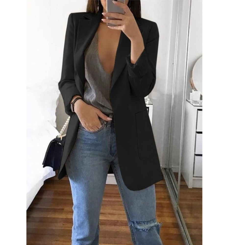 Fashion Turn-down Collar Coat Women Autumn Casual Solid Long Sleeve Pocket Office Business Suit Cardigan Femme Slim Blazer Coat