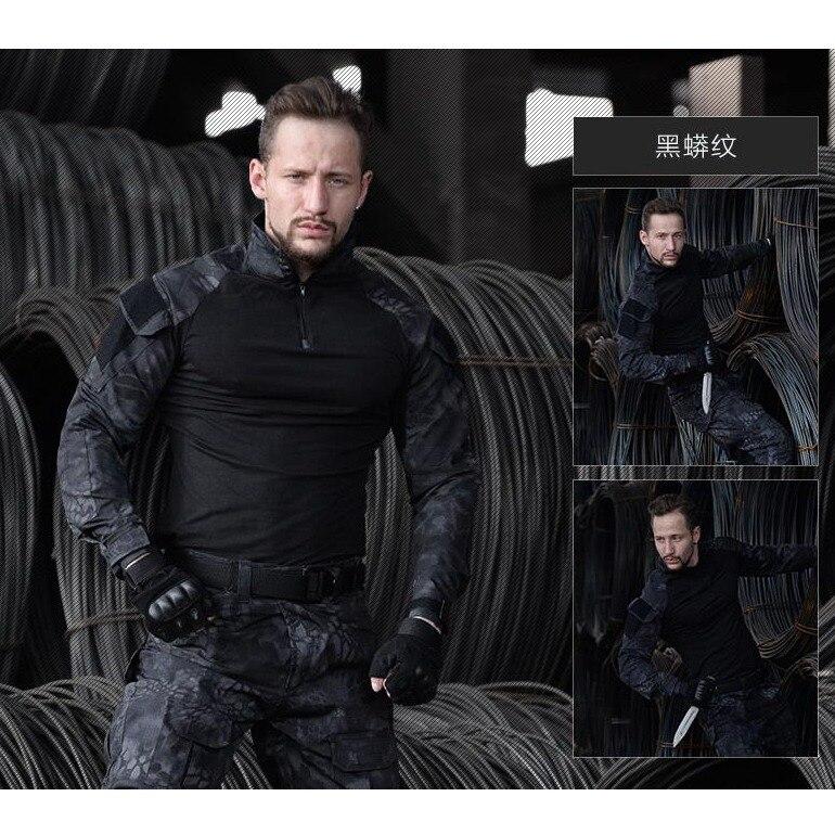 Costume de Combat tactique uniforme militaire armée de Camouflage boisé vêtements de jeu de guerre Airsoft chemise + pantalon genouillères coudières - 4