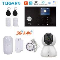 Tugard Tuya 433MHz Wifi 3G 4G Hause Einbrecher Sicherheit Alarm System, apps Steuer Drahtlose Alarm Kit Mit Ptz IP Kamera Baby Monitor