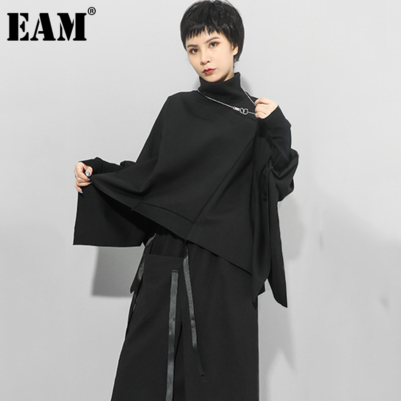 [EAM] Loose Fit Black Irregular Split Joint Sweatshirt New Turtleneck Long Sleeve Women Big Size Fashion Tide Autumn 2020 1Z299 1